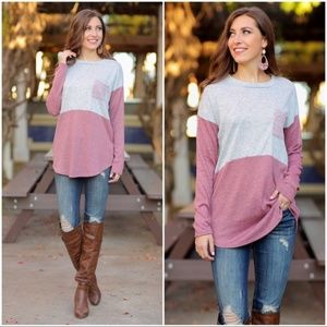 Heather Gray and Mauve Color Block Tunic